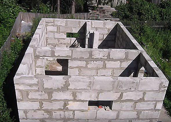 строительство бани из пеноблоков видео